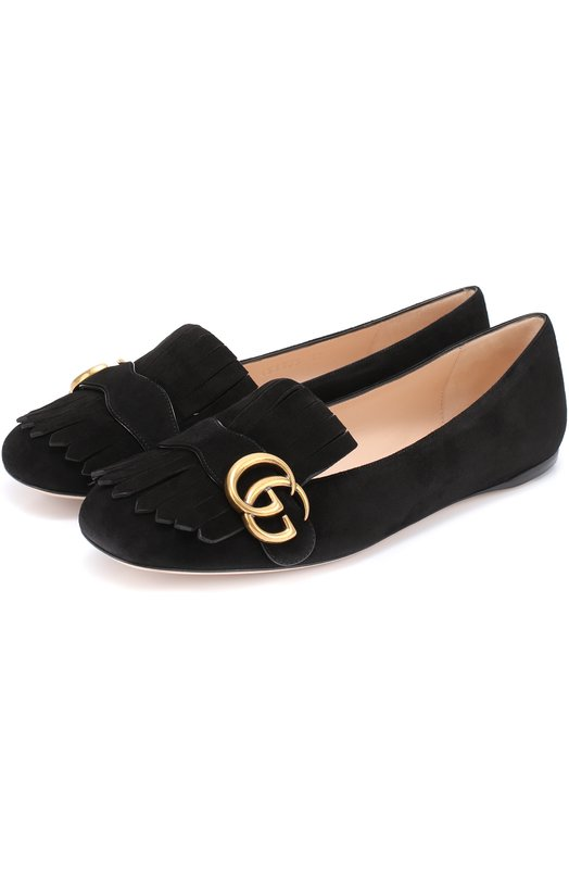 Замшевые балетки Marmont с бахромой и пряжкой Gucci 453373/C2000