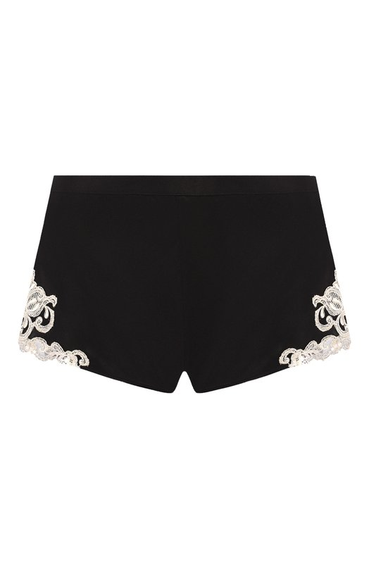 Шелковые шорты с завышенной талией и контрастной кружевной отделкой La Perla 0019228