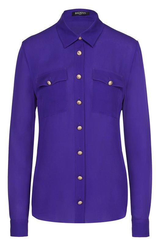 Шелковая блуза с накладными карманами и контрастными пуговицами Balmain 1310/154S