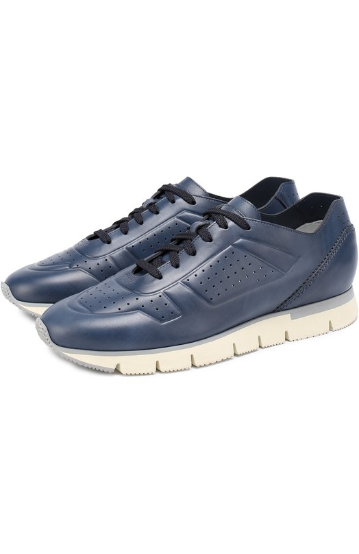 Кожаные кроссовки на шнуровке Santoni MBHY20015BG6SMUR