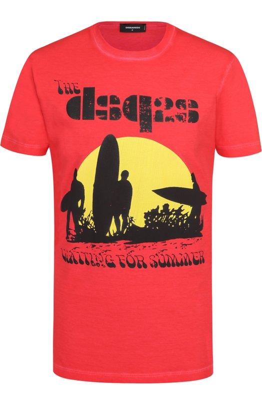 Хлопковая футболка с контрастным принтом Dsquared2 S74GD0197/S20694
