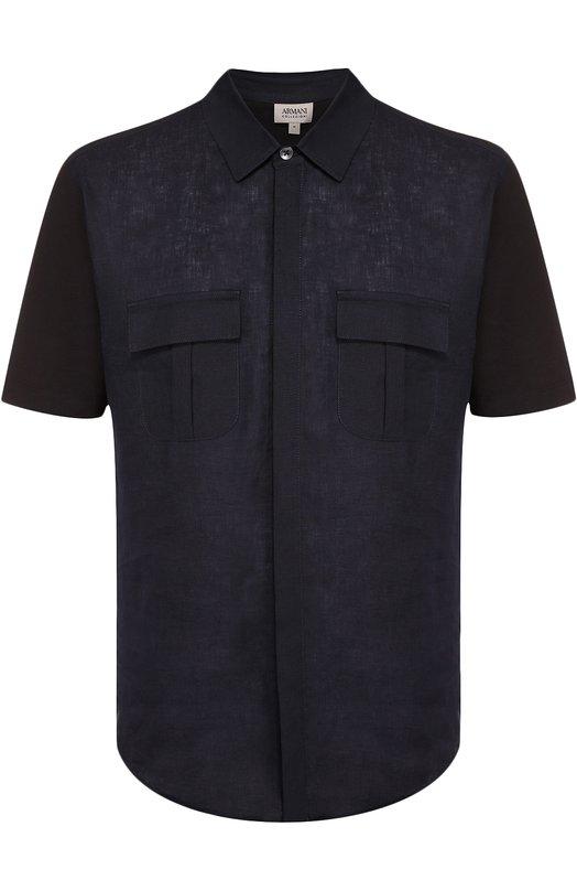 Рубашка с короткими рукавами из смеси хлопка и льна Armani Collezioni 3YCC54/CJBHZ