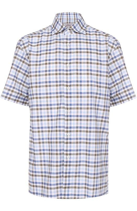 Хлопковая рубашка с короткими рукавами Brioni, SC64/P603K, Италия, Голубой, Хлопок: 100%;  - купить