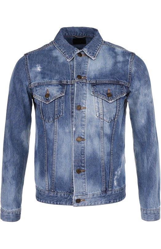 Джинсовая куртка на пуговицах с контрастной отделкой Saint Laurent 454829/Y801L