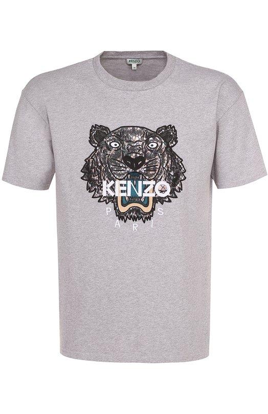 Хлопковая футболка с контрастной аппликацией Kenzo F755TS0774YF