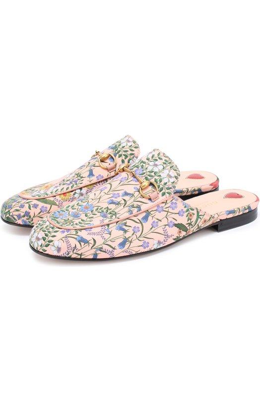 Сабо Princetown из текстиля с цветочным узором Gucci 432773/K7F10