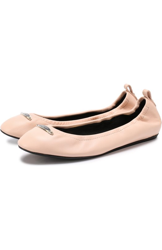 Кожаные балетки с логотипом бренда Lanvin FW-BAPB00-EXAA-P17