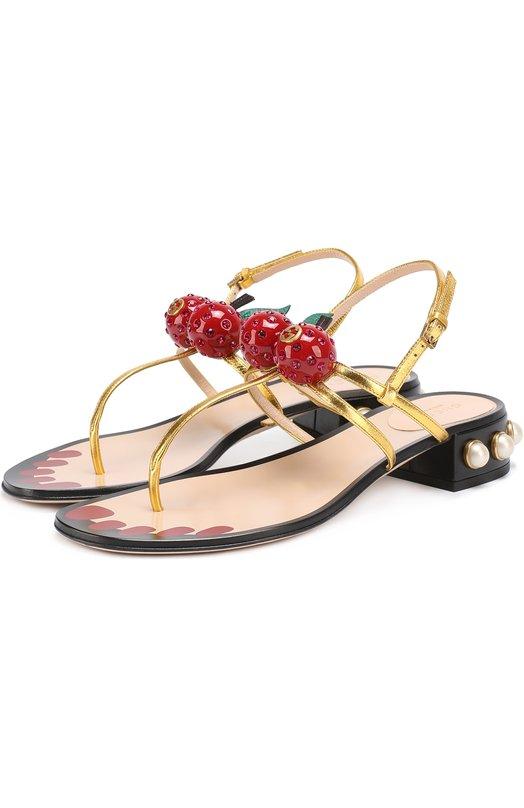 Кожаные сандалии Hatsumomo с декором Gucci 453496/B8C00