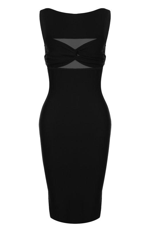 Купить Платье-футляр без рукавов с прозрачными вставками Herve L.Leroux Франция 5139676 C16311BRA