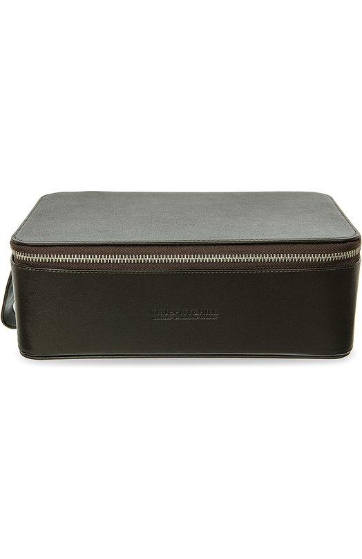 Купить Кожаный несессер на молнии Truefitt&Hill, 90006, Италия, Темно-коричневый