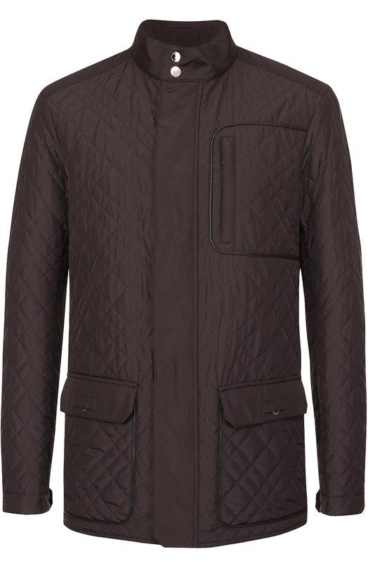 Утепленная стеганая куртка на молнии с отделкой из натуральной кожи Pal Zileri 94201/36S/B802