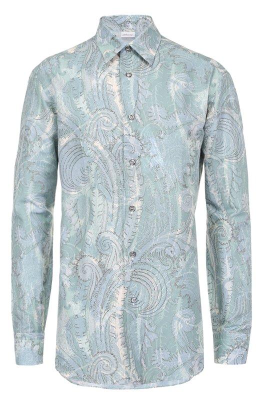 Купить Рубашка из смеси льна и хлопка с принтом Brioni, SC91/P6125, Италия, Зеленый, Лен: 66%; Хлопок: 34%;