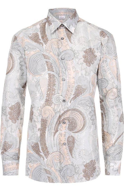 Купить Рубашка из смеси льна и хлопка с принтом Brioni, SC91/P6125, Италия, Коричневый, Лен: 66%; Хлопок: 34%;
