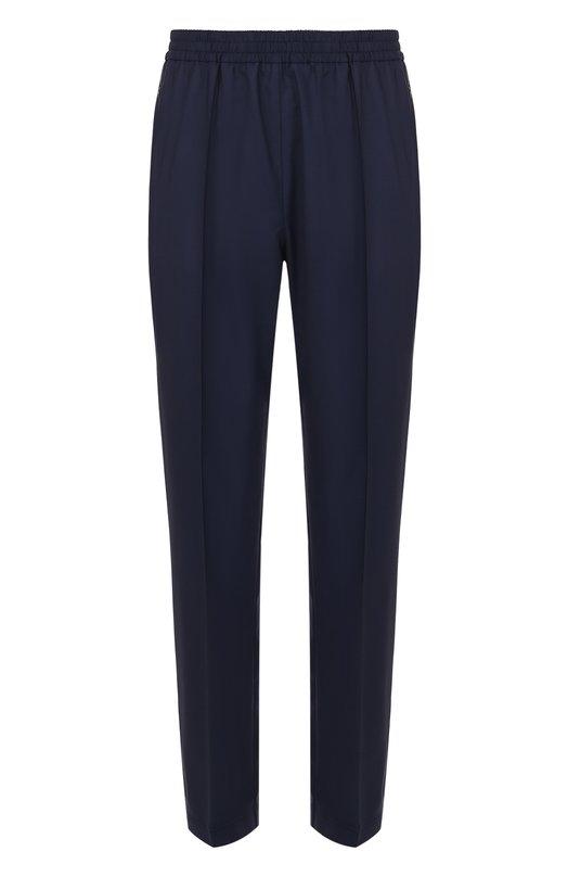 Купить Шерстяные брюки прямого кроя с поясом на резинке MSGM, 2240MP24A/174001, Италия, Темно-синий, Шерсть: 97%; Эластан: 3%;