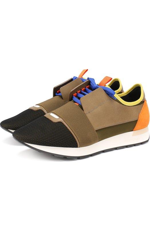 Текстильные кроссовки Race с отделкой из натуральной кожи Balenciaga 458641/W0YXH