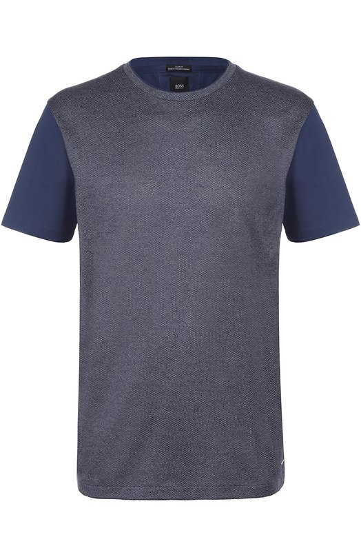 Хлопковая футболка с шелковой отделкой BOSS 50325583