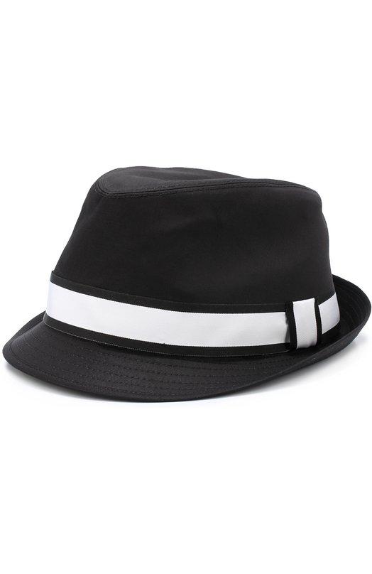 Хлопковая шляпа-федора с контрастной лентой Dolce & Gabbana 0135/GH589A/FUFGC