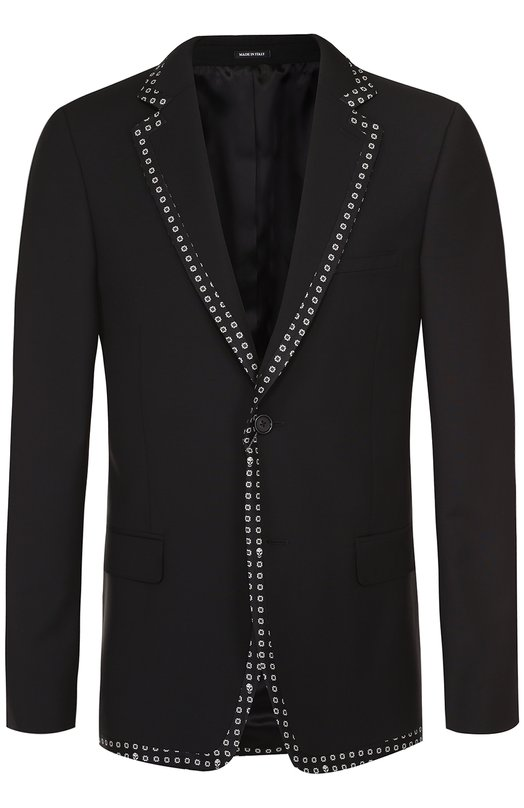 Шерстяной вечерний пиджак с контрастной отделкой Alexander McQueen 449312/QIZS1