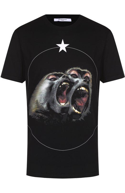 Хлопковая футболка с принтом Givenchy 17S/7335/651