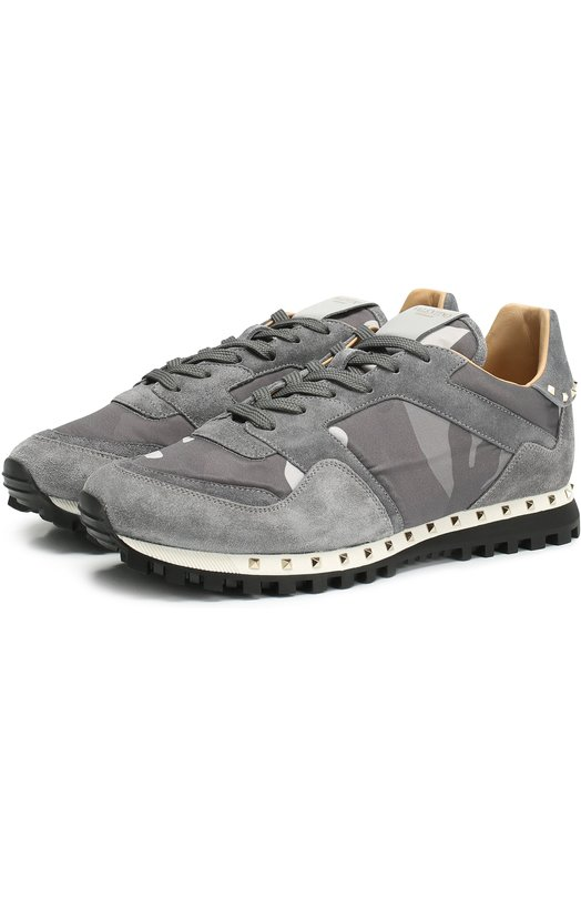 Купить Комбинированные кроссовки Valentino Garavani Rockrunner с принтом Valentino, MY0S0952/NYM, Италия, Серый, Стелька-кожа: 100%; Подошва-резина: 100%; Замша натуральная: 100%; Текстиль: 100%;