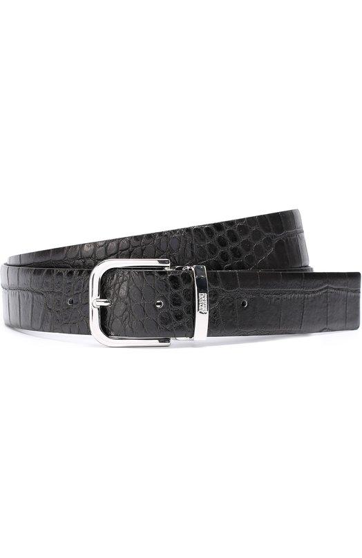 Кожаный ремень с тиснением под крокодила и металлической пряжкой Armani Collezioni 931092/7P857