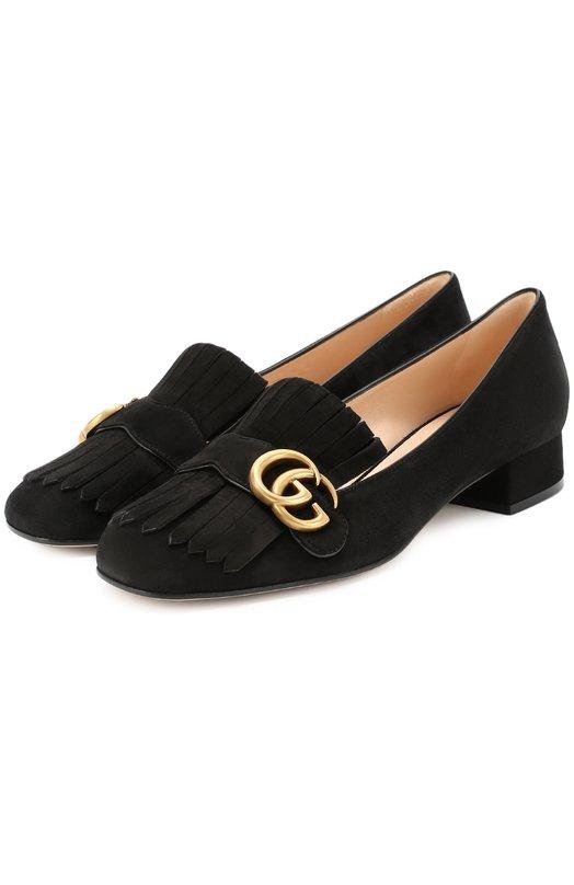 Купить Замшевые туфли Marmont с бахромой и пряжкой Gucci Италия 5122257 453480/C2000