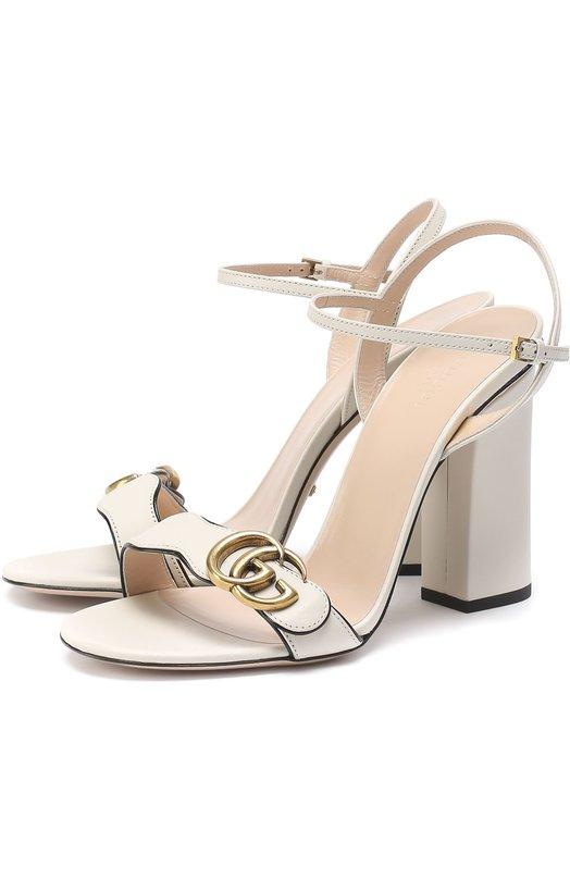 Кожаные босоножки Marmont на устойчивом каблуке Gucci 453378/A3N00