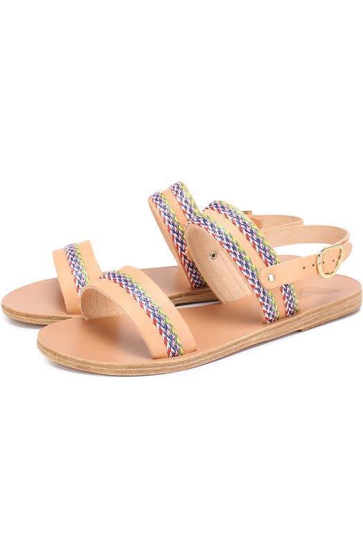 Кожаные сандалии Dinami с декором Ancient Greek Sandals DINAMI RAFFIA/VACHETTA