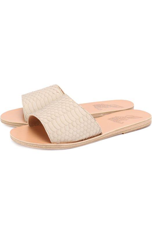 Кожаные шлепанцы Taygete с тиснением Ancient Greek Sandals TAYGETE/WATERSNAKE