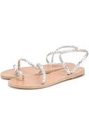 Сандалии Eleftheria из плетеной кожи Ancient Greek Sandals серебряные | Фото №1