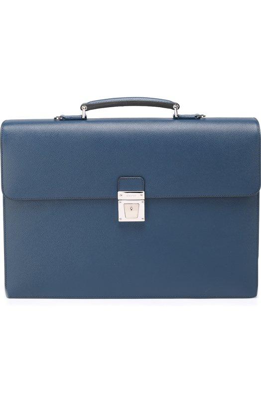 Кожаный портфель с внешним карманом на молнии и плечевым ремнем Serapian 5971