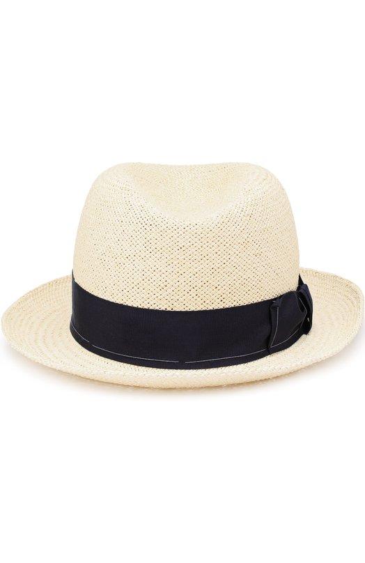Соломенная шляпа-федора с лентой Giorgio Armani 747275/7P501