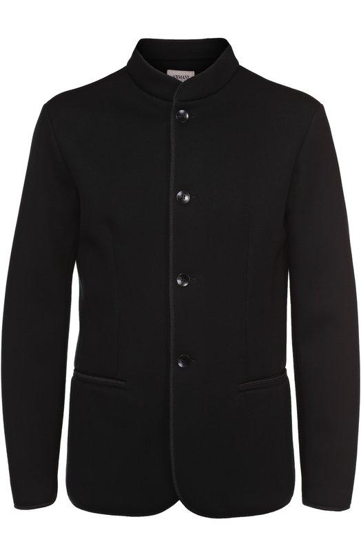 Однобортный пиджак из вискозы с воротником-стойкой Armani Collezioni 3YCG51/CJAWZ