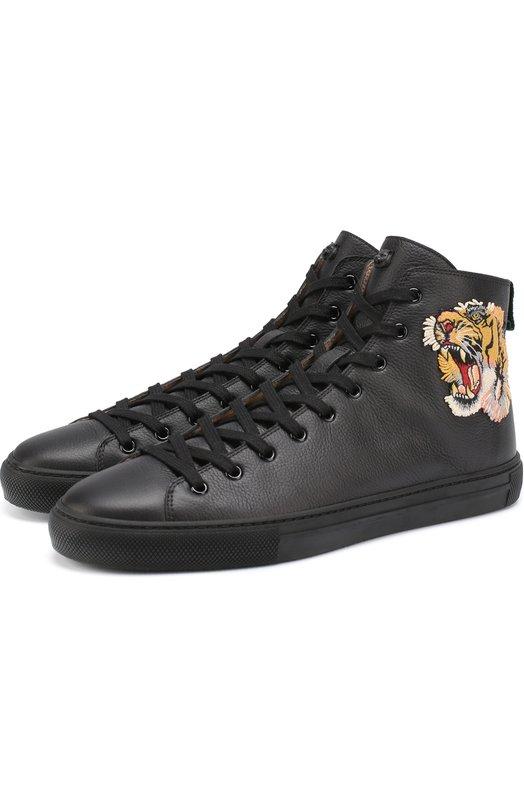 Высокие кожаные кеды на шнуровке с контрастной вышивкой Gucci 451621/BX0A0