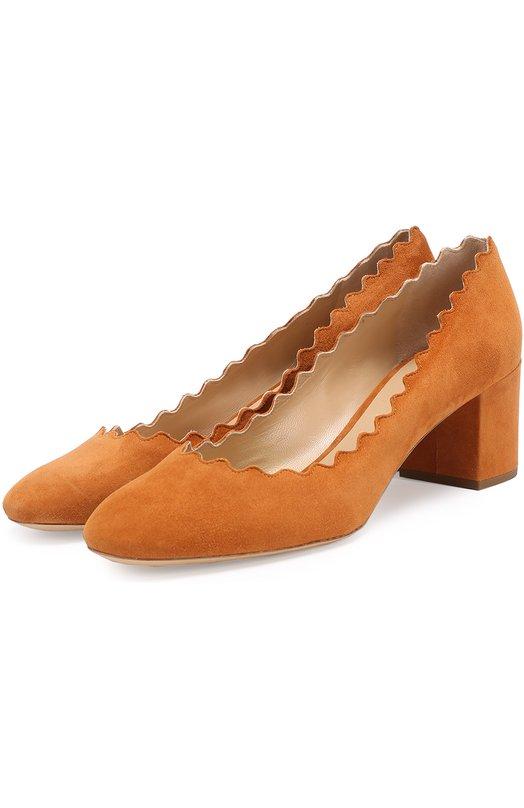 Замшевые туфли Lauren с фигурным вырезом Chloé, CH26230/E01, Италия, Светло-коричневый, Стелька-кожа: 100%; Подошва-кожа: 100%; Замша натуральная: 100%;  - купить