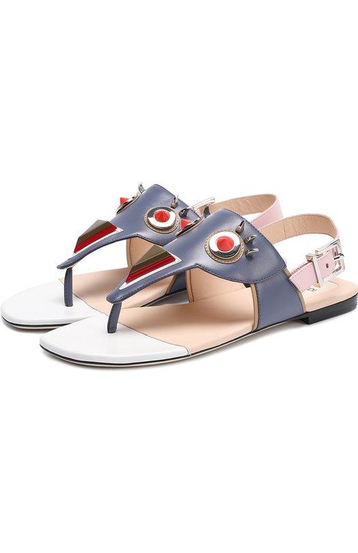 Кожаные сандалии с декором Fendi 8Y6459/TTY