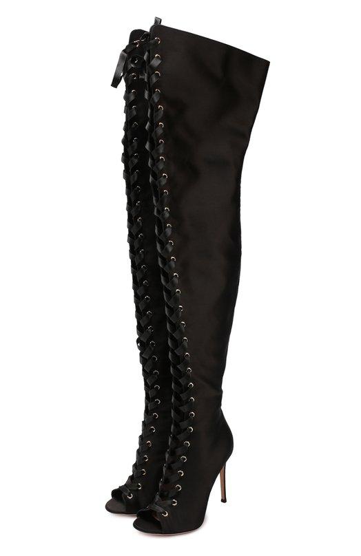 Купить Атласные ботфорты Marie на шнуровке Gianvito Rossi, G50896.15RIC.RAS, Италия, Черный, Стелька-кожа: 100%; Подошва-кожа: 100%; Текстиль: 100%;