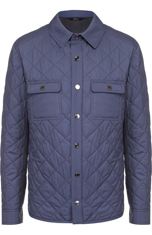Шелковая стеганая куртка с отделкой из натуральной кожи Brioni SLQ1/P6402