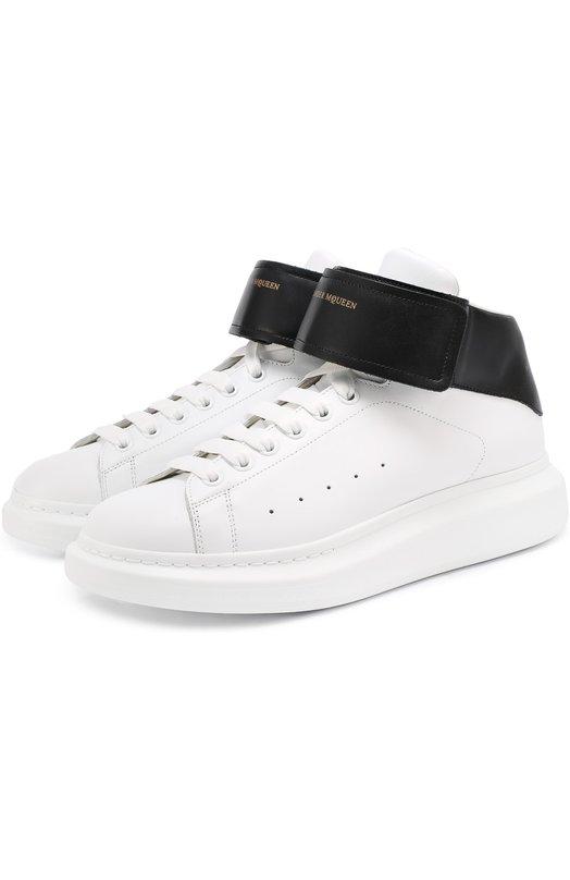 Высокие кожаные кеды на шнуровке с застежкой велькро Alexander McQueen 457273/WHGP5