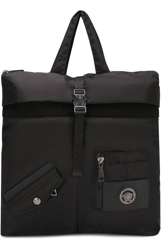 Текстильная сумка-тоут с плечевым ремнем Versace DFB6301/DNYMV