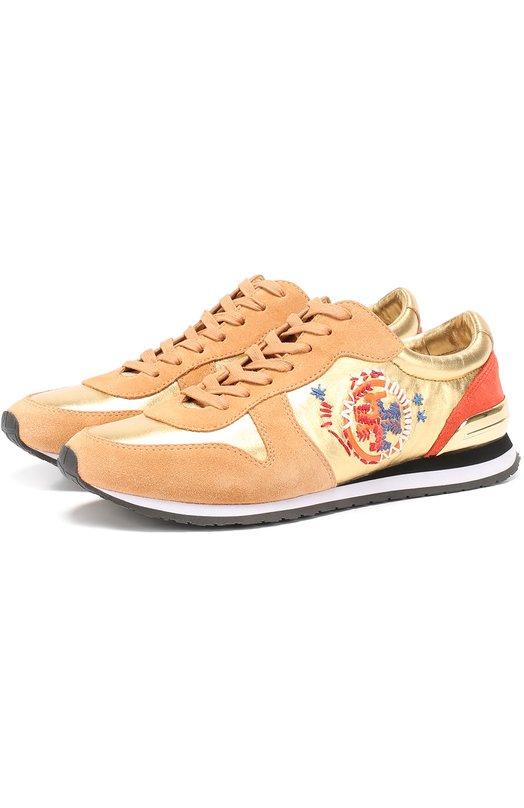 Комбинированные кроссовки с вышивкой Tory Burch 35520