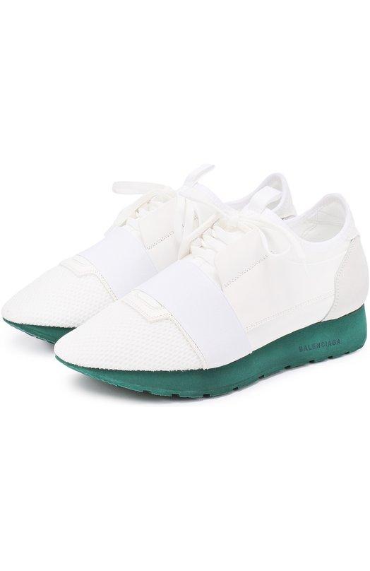 Комбинированные кроссовки на контрастной подошве Balenciaga 454488/W0YXG
