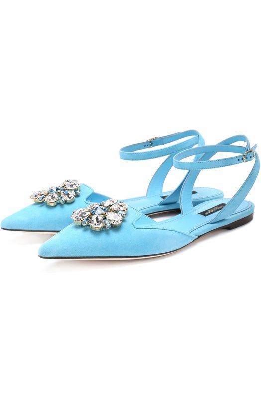 Замшевые балетки Bellucci с кристаллами Dolce & Gabbana 0112/CP0068/A1275