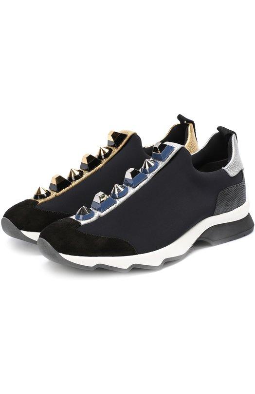 Комбинированные кроссовки с декором Fendi 8E6386/SNN