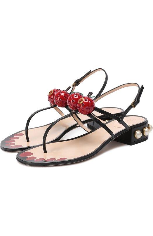 Кожаные сандалии Hatsumomo с декором Gucci 453496/C9DN0