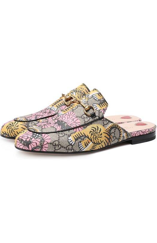 Сабо Princetown из текстиля с принтом Gucci 460881/K6D70