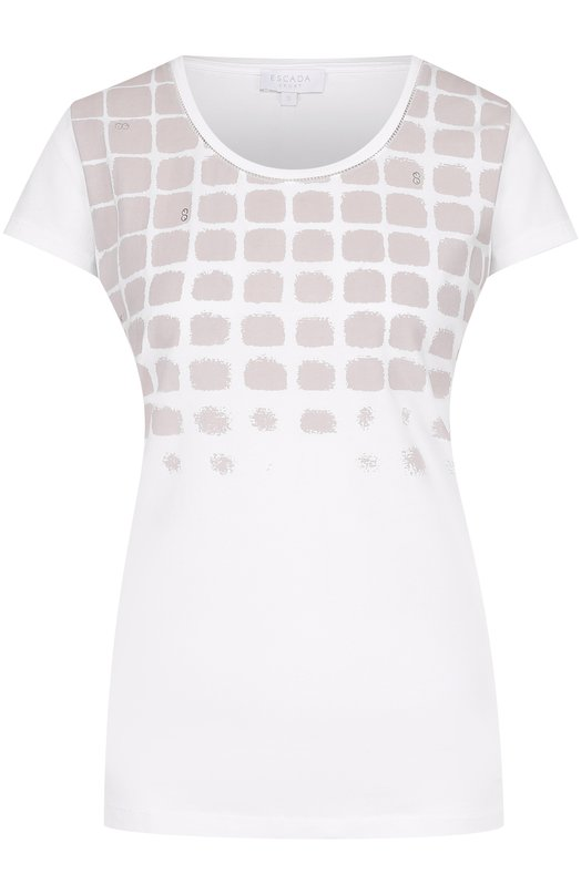 Хлопковая футболка прямого кроя с принтом Escada Sport 5023076