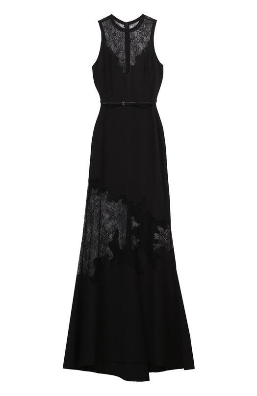 Платье-макси с поясом и кружевными вставками Elie Saab 8408