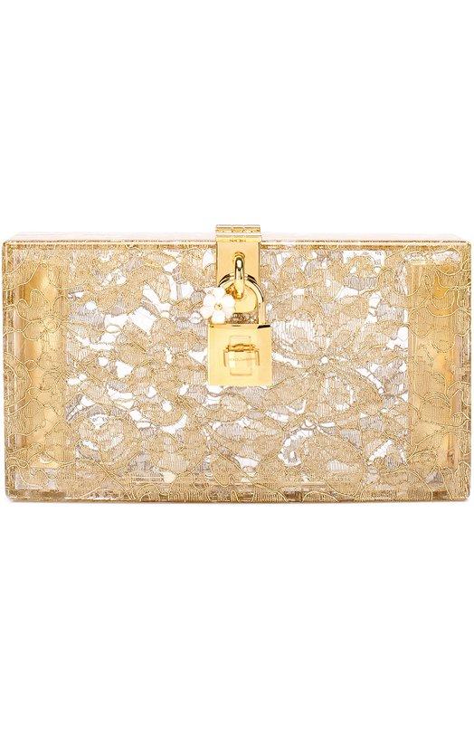 Клатч Dolce Box с кружевом Dolce & Gabbana, 0116/BB6232/AG283, Италия, Золотой, Поливинилхлорид: 100%;  - купить
