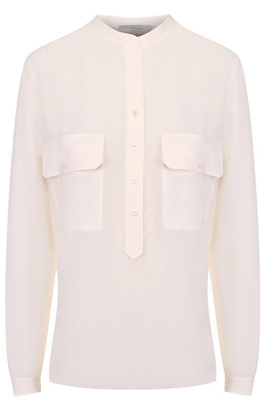 Купить Шелковая блуза с накладными карманами и воротником-стойкой Stella McCartney, 386118/SY206, Венгрия, Кремовый, Шелк: 100%;